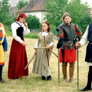 Skupina historického šermu URSUS na oslavách MDD